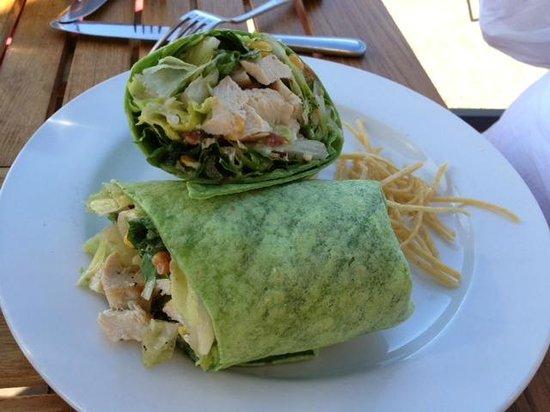 Greg's Grill: Chicken Salad in a spinach tortilla wrap - yum!