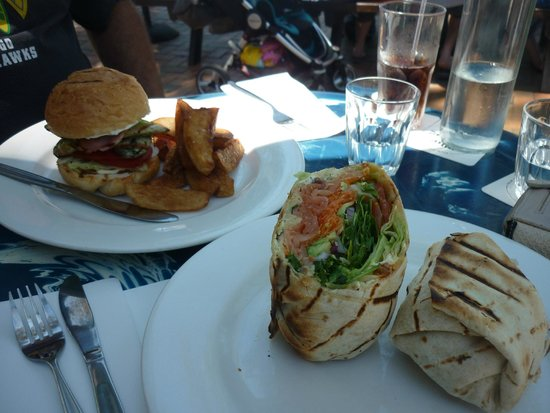 The Rising Sun Bar & Bistro: Chicken Fillet Burger & Fries and Smoked Salmon Wrap