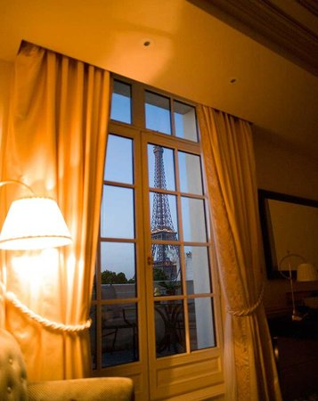 View from corner of the room picture of shangri la hotel for Terrace eiffel tower view room shangri la