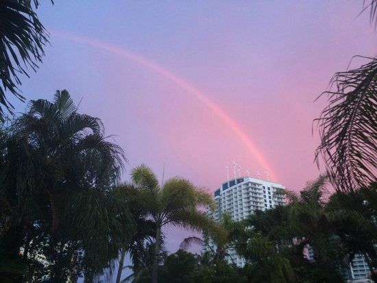 The Worthington Guest House: Rainbow over the Hilton (view from the pool)