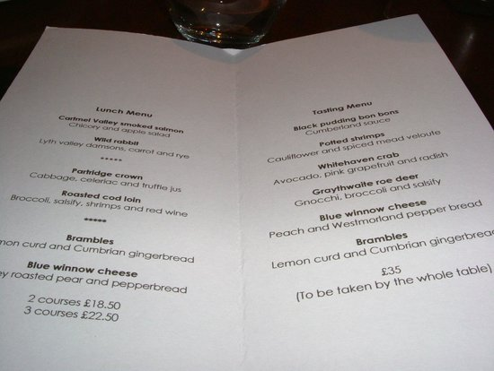 The Old Stamp House Restaurant: Lunch Menu 3 Courses £22.50