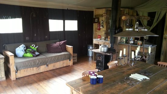 Feather Down Farms at Lower Rodhuish Farm: inside the glamping tent
