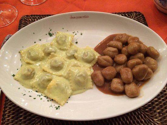 Divin Porcello: Bis primi con ravioli al pesto di pistacchi e gnocchi ossolani