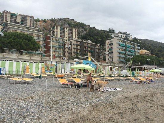 Spotorno, Itálie: Spiaggia deserta e io non posso tenere slegati i cani!!! ��