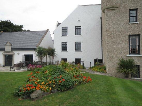 Ballygally Castle: views of garden..original castle section on right