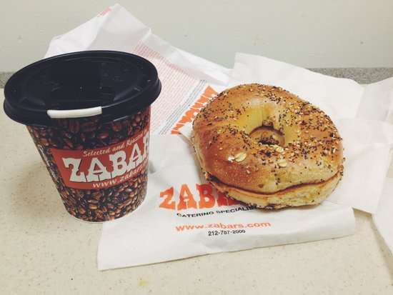 Zabar's : bagel and coffee breakfast.