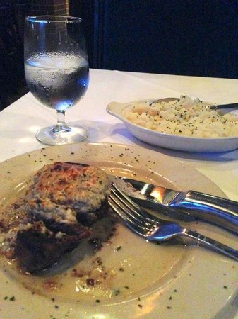 Mark's Prime Steakhouse: Blue Cheese Sirloin and Mashed Potatoes