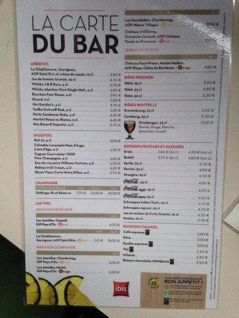 Ibis Arras Centre Les Places: Bar menu 9/2014. Pricey!