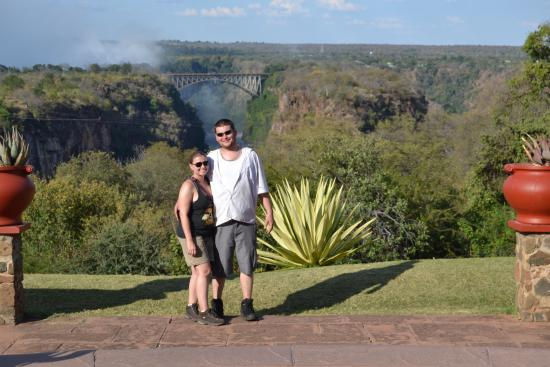 Livingstone Room at Victoria Falls Hotel: photo op of falls from Victoria Hotel