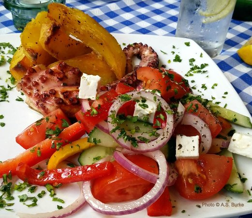 Artemis: Grilled octopus, Greek potatoes and salad