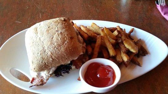Delicioius ciabatta sandwich and fries, Commodore  |  369 Victoria Street, Kamloops, British Col