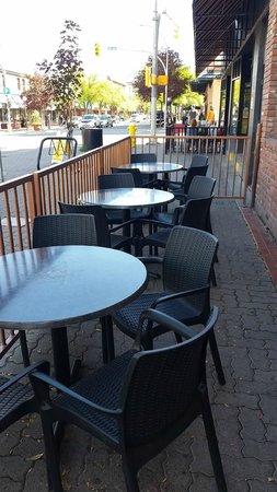 Littleoutdoor patio along the street, Commodore  |  369 Victoria Street, Kamloops, British Colum