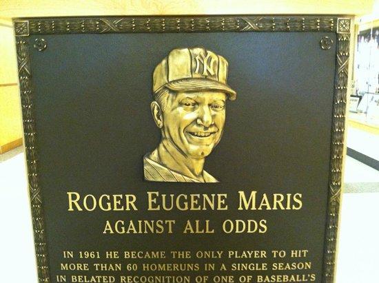 Roger Maris Museum: Plaque at museum - identical to one in Yankee Stadium