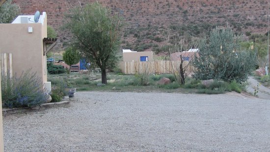 Morris' Last Resort: View across parking area from front door of Cabin 6