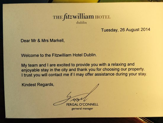Our Welcome Letter  Picture Of Fitzwilliam Hotel Dublin Dublin