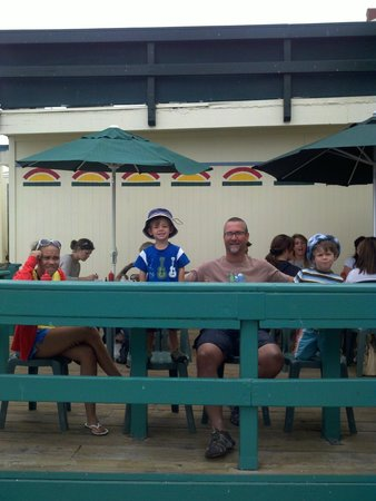 Kono's Cafe: On the boardwalk, waiting for the goods. Coffee place just to the left is great while you wait..