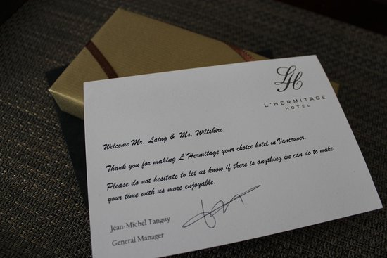 L'Hermitage Hotel: complimentary welcome chocolates