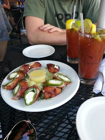 Boathouse Cantina : House made jalapeno poppers wrapped in bacon!