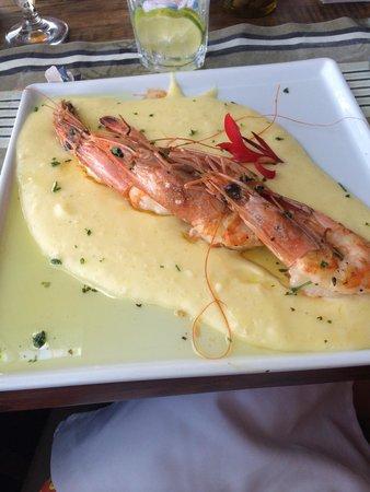Bate Ponto: Camarão grelhado com creme de aipim trufado. Delicioso!