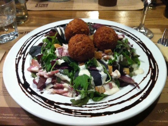 """The Yorkshire Meatball Co: """"Birdie Balls"""" on a salad with Caesar dressing, bacon and croutons. Delicious and a fun substitu"""