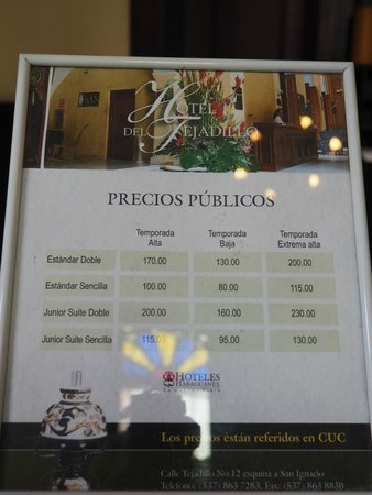 Hotel del Tejadillo: Hostal del Tejadillo - price list at the reception desk