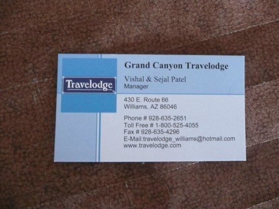 Travelodge Williams Grand Canyon : Business card