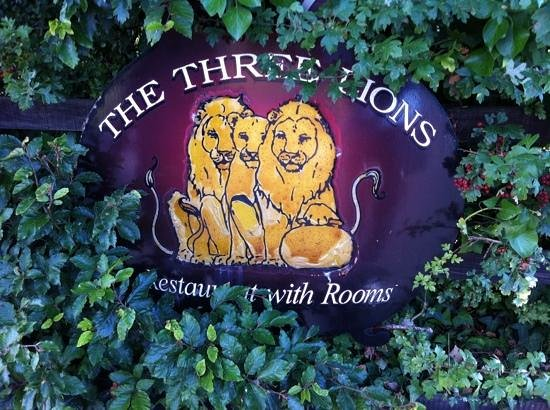 The Three Lions: The Entrance Sign--the lions are facing you
