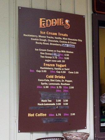 Eddie's Cafe & Gifts: Eddie's Outdoor Ice Cream menu