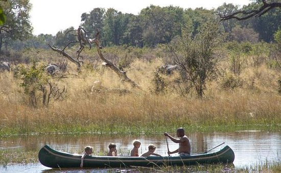 Great Plains Conservation Selinda Explorers Camp: canoeing down the spillway