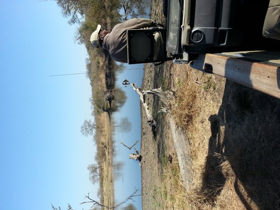 Simbambili Game Lodge: Morning tea stop at a waterhole with Service, our tracker