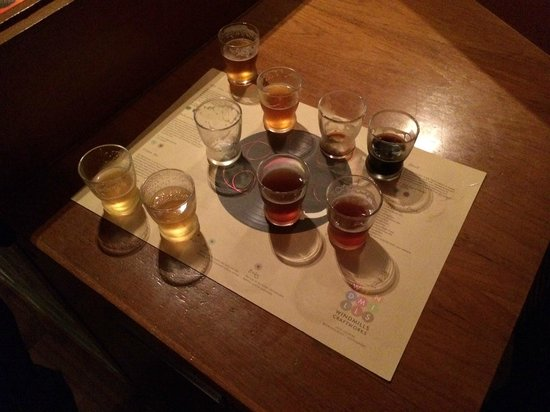 Windmills Craftworks : Beer samplers giving you a overview of the different beers on tap.