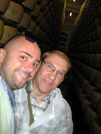 """Italian Days Food Experience: Alessandro and Peter """"hamming it up"""" amongst the cheese!"""