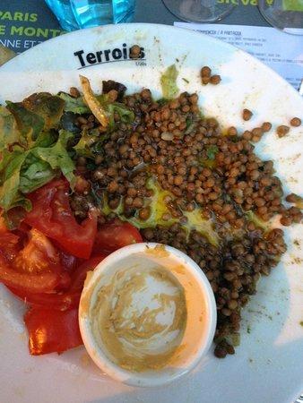 """Restaurant Terroirs : Assiette """"l'orientale"""": les lentilles au cumin se noient dans l'huile"""