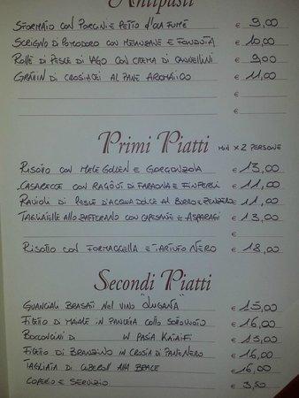 Pozzolengo, Italy: il nostro menù