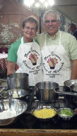 New Orleans School of Cooking: Getting ready to cook our dinner!
