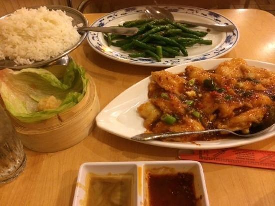 J.W. Chen's : Fresh flounder, stir-fried beans, and what is left of my tempura calamari.  Yummy!