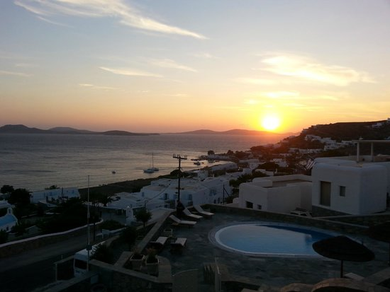 Panthea Residence: View of the sunset from our balcony.