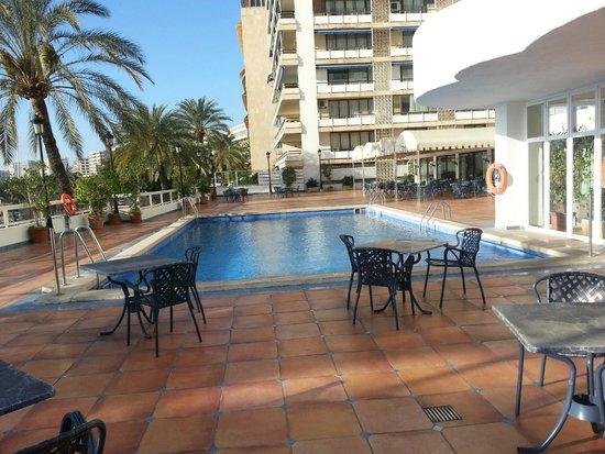 Hotel Palma Bellver managed By Meliá: Févr. 2014 - pool et terrasse - depuis la salle du petit déj.