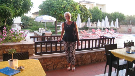 Vagia Mare Hotel : Me at the restaurant looking out into the garden