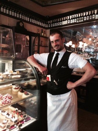 Figaro Bistrot : The pastry case & Karim, the beguiling waiter!