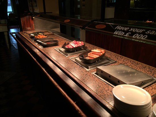 Lord Louis Stonehouse Pizza & Carvery: Breakfast buffet: sausage, beacon,  beans, - Breakfast Buffet: Sausage, Beacon, Beans, Hash Browns, Fried Eggs