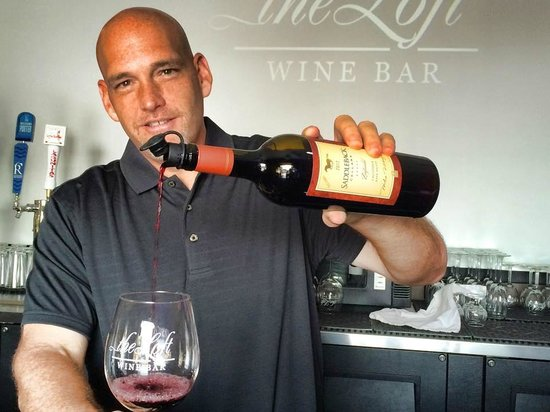 The Loft Wine Bar & Restaurant: Jason Diavatis, Owner of The Loft Wine Bar in Benicia serving behind the bar