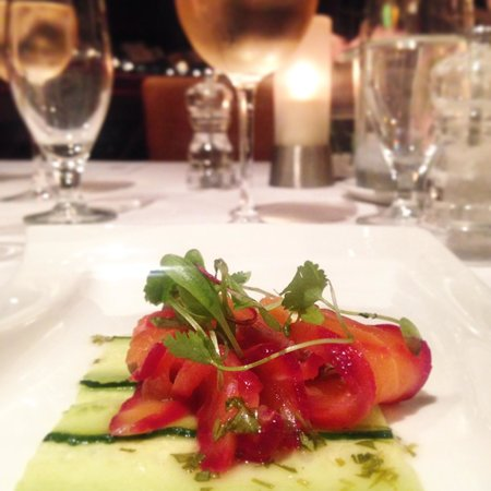 Beetroot-cured salmon with lemon pearls, paired with Haute Cabriere Chardonnay Pinot Noir.