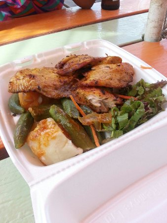 Barbados Beach Club: Sampling the local food in the Gap, no complaints.