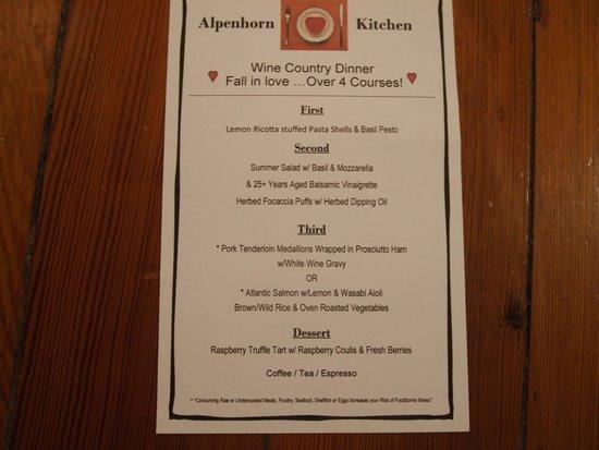 Alpenhorn Kitchen: Dinner Menu