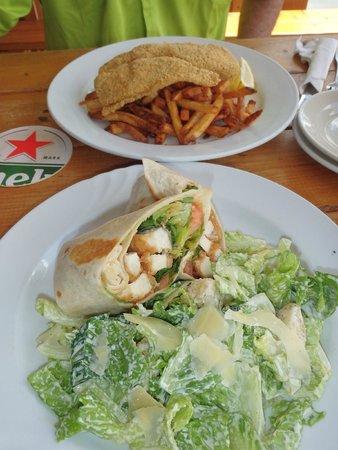 Duke's Seafood and Rib Shack : Crispy chicken wrap and Catfish.