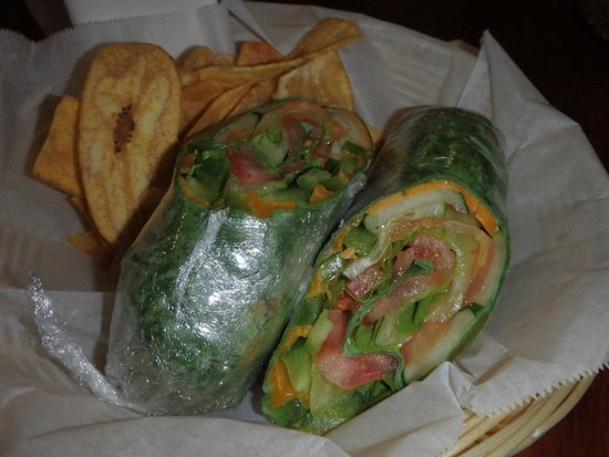 Cafe Del Sol: Veggie hummus wrap with plantain chips.  Yummy!