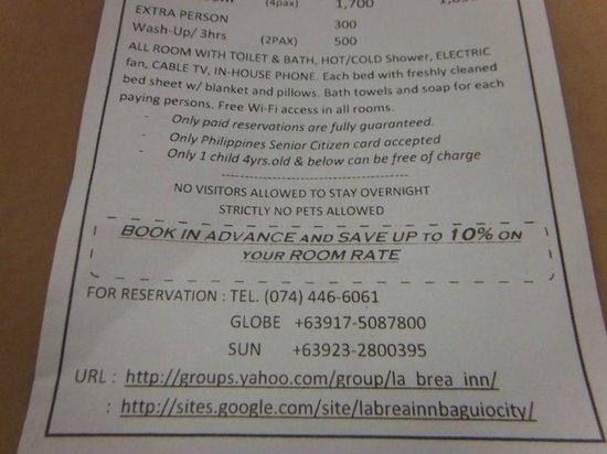 price list flyers picture of la brea inn baguio tripadvisor