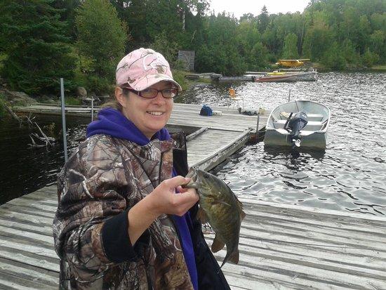 Shining Tree, Canada: nice bass off the dock