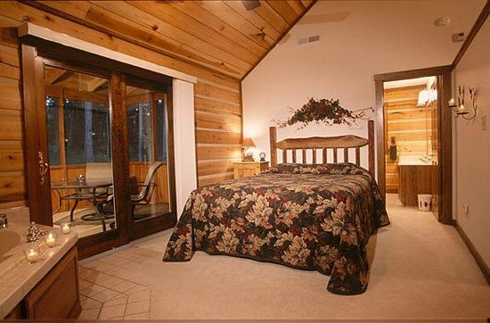 Colfax, Ιντιάνα: Queen size bed, screened back porch